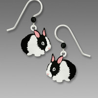 Sienna Sky Earrings - Black and White Bunny Rabbit