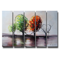 Red & Green Tree of Love Landscape Canvas Wall Art Oil Painting