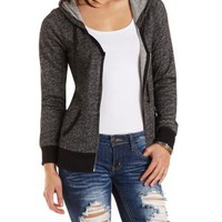 Marled Scoop Neck Zip-Up Hoodie by Charlotte Russe