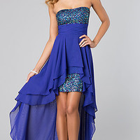 Strapless Sequin High Low Dress by Hailey Logan