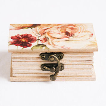 "Wooden box with a pink and red flowers ""Botanical Book"" - Gift ideas, wedding decor, ring bearer box, jewelry box, floral"