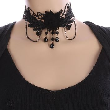 Black Fabric Flower Charm Crochet Lace Choker Necklace