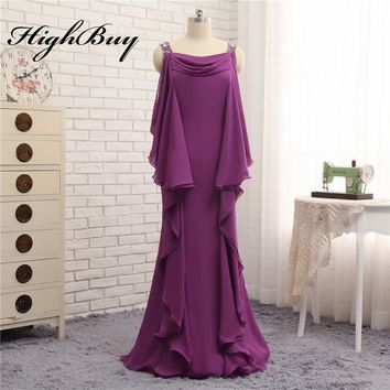 HighBuy Long Casual Chiffon Mother of the Bride/Groom Dresses Beaded Spaghetti Strap Mother Dress Prom Dress Evening Dress 2017