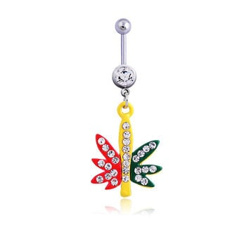 New Charming Dangle Crystal Navel Belly Ring Bling Barbell Button Ring Piercing Body Jewelry = 4804929796