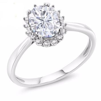 10K White Gold 0.84 Ct Oval Created Moissanite Engagement Ring with Diamonds