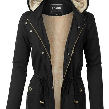 Faux Fur Anorak Military Jacket with Pockets - Black