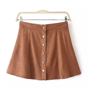 Fashion Autumn Winter Women Suede Skirt Single Breasted Solid Short Pencil Skirts Soft Faux Leather Female Mini Khaki Skirt