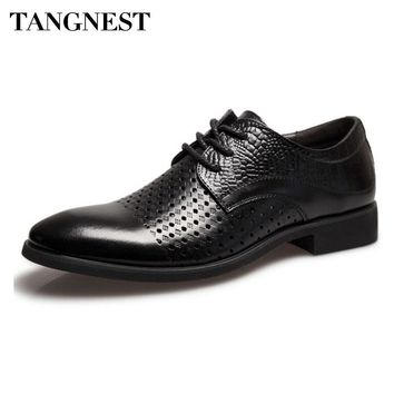 Tangnest New Cut-out Men's Dress Shoes Fashion Pointed Toe Lace Up Oxfords Flats Man Breathable Split Leather Shoes Black XMP809