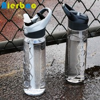 Plastic Sports Water Bottle With Straw BPA Free Portable Handle Water Bottle Travel Kettle