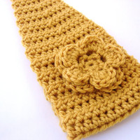 Crochet Headband, Headwrap, Ear Warmer, Sungold Flower Head band, Adjustable Hair Accessory, Winter Fashion MADE TO ORDER