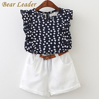 Bear Leader  Summer Casual Children Sets Flowers Blue T-shirt+  Pants Girls Clothing Sets Kids Summer Suit For 3-7 Years