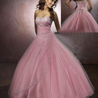 New Stunning Crystals Beaded Sweetheart Organza Cheap Sky Blue  Pink Quinceanera Dresses