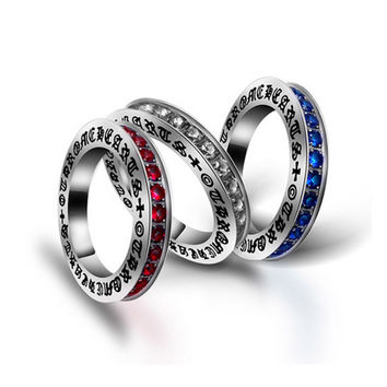 New Arrival Jewelry Shiny Gift Diamonds Stylish Titanium Vintage Ladies Couple A4 Size Ring [6542611523]