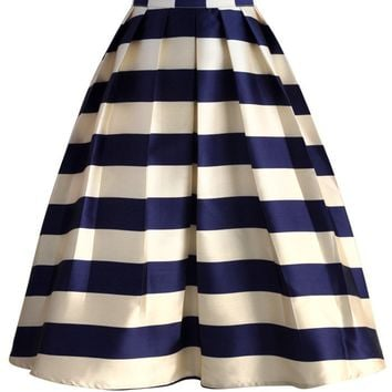 Marine Blue Striped Midi Skirt