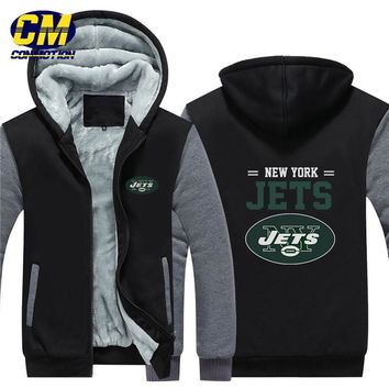 NFL American football winter thicken plus velvet zipper coat hooded sweatshirt casual jacket  New York Jets