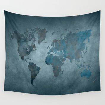 World map 6 blue Wall Tapestry by jbjart