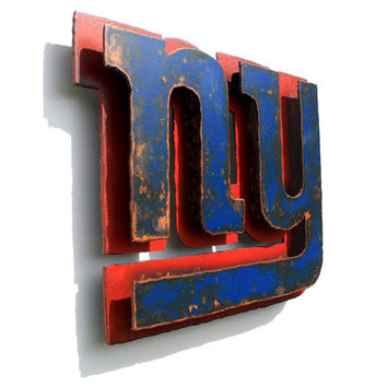 "New York Giants 3D wall art metal emblem logo - NFL - 13.75"" wide - blue red rust patina"