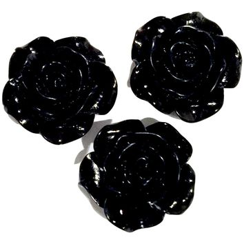 Black flower resin cabochon 18mm / 1-5 pieces