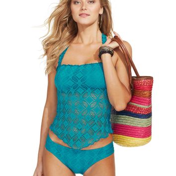 Becca Crochet Halter Tankini Top & Side-Tab Hipster Bottom