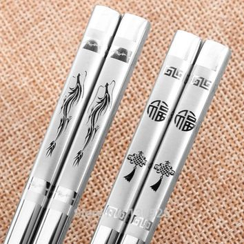 5 Pairs Pack Chopsticks 304 Stainless Steel Iron Antiskid Fast Household Metal Chinese Korean Japanese Style Reusable Chopsticks
