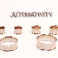 """1 pair of Flesh Tunnels sizes 00g (10mm) to 1.1"""" (32mm), coffee coloured, Double flared, Gauges,"""