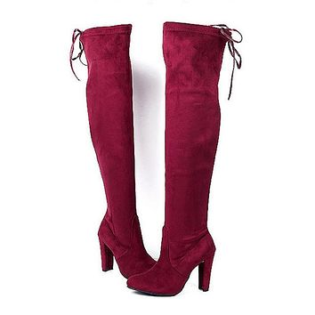 Women's Faux Suede Over The Knee Thigh High Chunky High Heel Boots