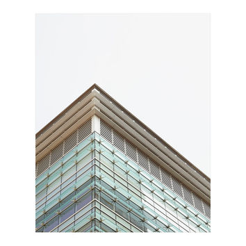 Green Architecture Photography, Toronto Photography, St Michael's Hospital Art, Teal, Urban Art Print, Minimal - Inspired Care