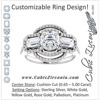 Cubic Zirconia Engagement Ring- The Fallon (Customizable Enhanced 3-stone Style with Cushion Cut Center, Emerald Cut Accents, Floral Double Halo and Thin Pavé Band)