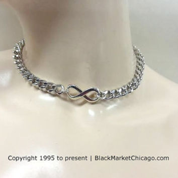 BDSM Day Collar INFINITY Necklace Stainless Steel Chain Discreet Choker Heart Padlock Closure or Lobster Clasp