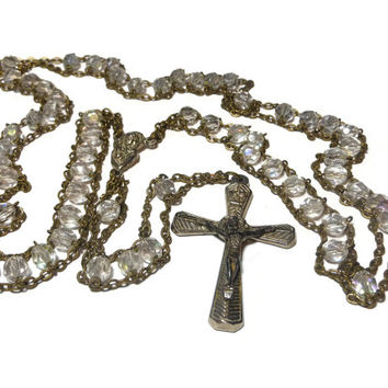 Crystal ladder rosary, two chain gold ladder rosary with crystal beads, medal and crucifix silver toned, crucifix made in Italy, free pouch