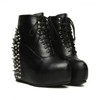 Punk Style Rivets and Wedge Heel Design Women's Boots