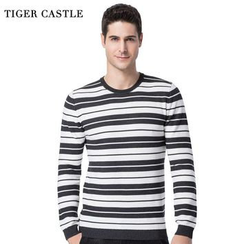 TIGER CASTLE Men Pullovers Sweater Fashion Male Long Sleeve Striped Knitted Sweaters Casual Brand Mens Slim Fit Quality Knitwear