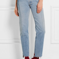 Vetements - Paneled distressed high-rise straight-leg jeans