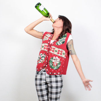 Vintage Christmas Sweater Vest Sequin Beaded Jumper Chunky Knit Tacky Xmas Sweater Red Green Ugly Party Wreath Cardigan Top S Small M Medium