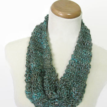 Turquoise Spirit Cowl, Knit Cowl, Knit Scarf, Gift For Her, Spring Scarf, Fashion Accessory, Women's Accessory, Loop Scarf, Circle Scarf