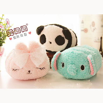 Cute cartoon panda rabbit bunny elephant mint green plush toy doll cell phone holder stand gift