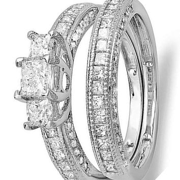 CERTIFIED 1.75 Carat 14k White Gold Princess & Round Diamond Ladies Bridal 3 Stone Ring Wedding Set