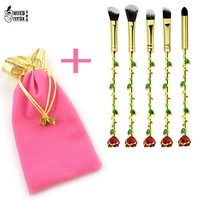 Newest Beauty and the Beast makeup brushes in Makeup Brushes & Tools crystal Rose Flower Makeup Blush Eyeliner Women Gift