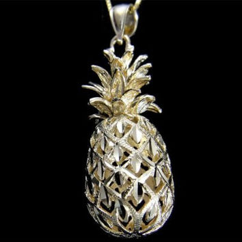 SOLID 14K YELLOW GOLD 3D HAWAIIAN DIAMOND CUT PINEAPPLE CHARM PENDANT 13.5MM