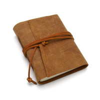 Rustic Brown Leather Travel Journal in Primitive Brown Suede, A Rugged Handmade Leather Notebook, Leather Diary