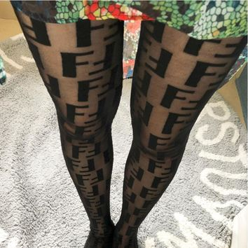 FENDI Fashion Women Sexy FF Letter Sexy Skin Tight Club Socks I13342-1