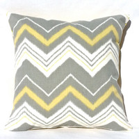 Grey Yellow and White Chevron Throw Pillow, 14x14, Dorm Décor – Pillow Insert Included