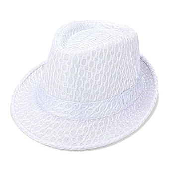 Beatnix Fashions White Fishnet Pattern Fedora Hat