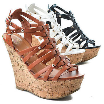 Medium Gladiator Studded Dress Platform High Wedge Slingback Heel Sandal