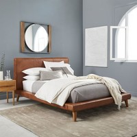 Mod Leather Platform Bed - Saddle