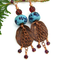 Rainforest Leaf Boho Earrings, Copper Red Garnet Turquoise Lampwork Handmade Jewelry