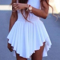 Irregular Hem Sleeveless Flouncing Summer Prom Mini Dress