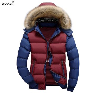 WZZAE 2017 New Contrast Color Hooded Design Men Parka M-3XL Casual & Fit Men's Winter Jacket Stand Collar Thick Man Down Jacket