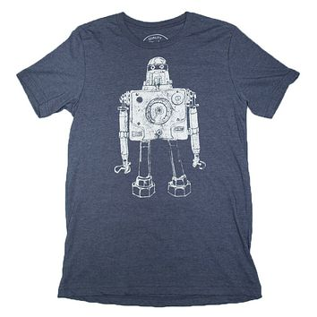 Mr Roboto Gauges, Nuts, Bolts and Wrenches T-shirt Heather Navy