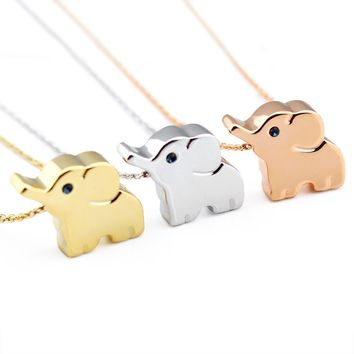 14k Plated Alloy Gold Rosegold Silver Elephant Animal Lucky Elephant Necklace...